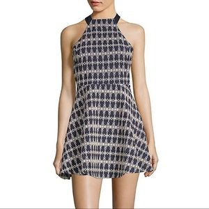 J.O.A Blue and White Geometric Print Halter Dress